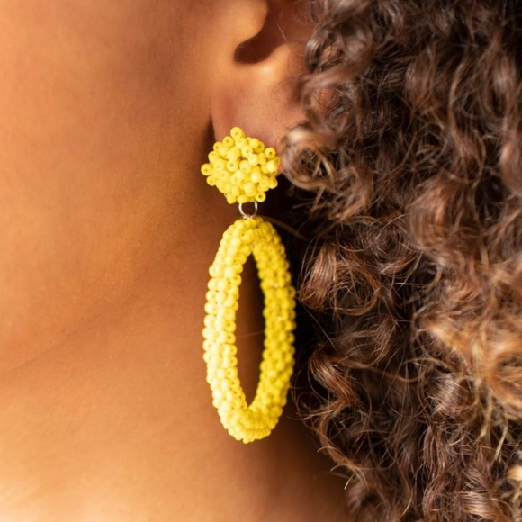 Be All You Can Bead Yellow Earrings NWT